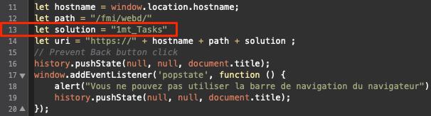 Fichier html destiné à l'ouverture de la solution en Webdirect